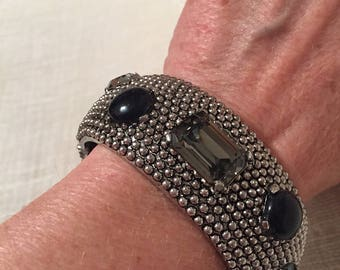 Studded Silver Tone Metal Vintage CINER Clamper Bracelet with Black Gray Glass Stones