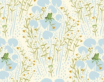 SALE *** Far Far Away Frog Prince in Blue 1 yard - by Heather Ross for Windham Fabrics