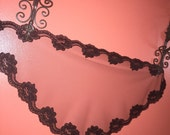 Black Soft Floral Net Lace  Mass - Church Mantilla Scarf Veil - Headcover - Comes In 4 Sizes -
