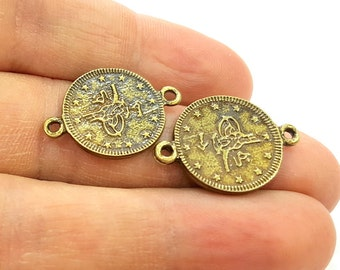 8 Antique Bronze Charms Connector Ottoman Coin Signature Charms (18mm) G7207