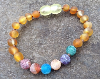 Raw Baltic Amber & Rainbow Agate anklet/bracelet: ease pain - calming - grounding - 6 inches long