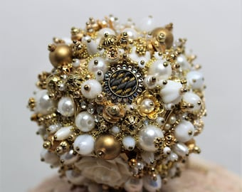 Bejeweled Ornament White Gold Art Piece OOAK Vintage Jewelry Rhinestones