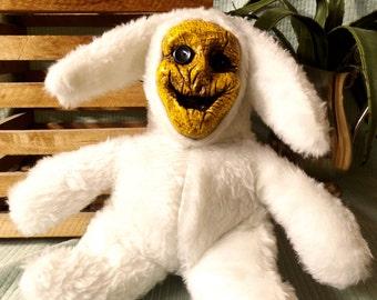 Handmade White bunny Scarecrow Creepy stuffed toy