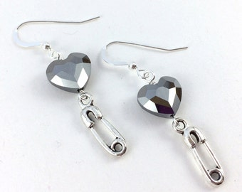 Safety Pin Ally Earrings - Silver Night Crystal Heart