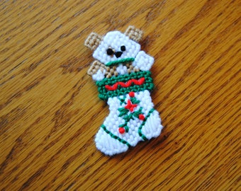 Plastic Canvas Puppy in a Stocking Christmas Refrigerator Magnet