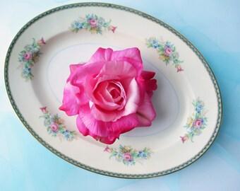 Vintage Pink Blue Floral Serving Platter - Cottage Chic