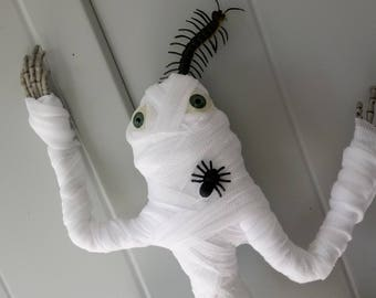 Scuttling Wall Mummy - poseable hanging ghost mummy frog Halloween decoration