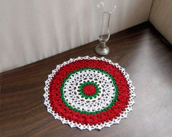 Christmas Holiday Lace Crochet Doily, Festive Home Decor, New Table Topper, Red, White, Green