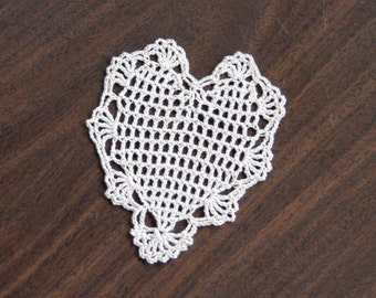 Lace Heart Filet Crochet Doily, Romantic Decor, Gift For Her, New, Petite Cottage Chic Table Accessory