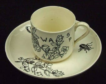 Antique Brown White Transfer Ware Demitasse Cup Saucer Wasp Bee Design Goth Steam Punk England English Be Ye Drone Halloween Transferware