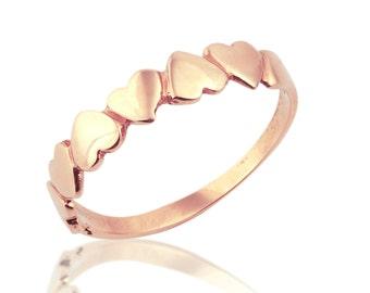 Heart Promise Ring, Heart Wedding Band, Heart Band Ring, Rose Gold Heart Ring, Heart Ring, Rose Gold Promise Ring, Anniversary Gift