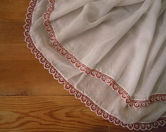 vintage white cotton scarf with red beaded trim