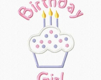 Birthday Girl CupCake 3 Candles Digital Embroidery Machine Applique Design 15100