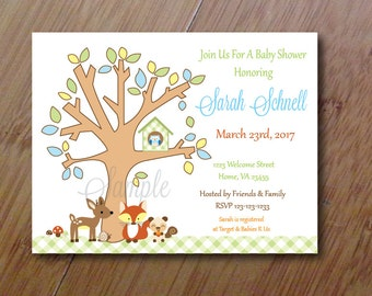 Forest Tails Invitations,  Set of 10 Personalized Professionally PRINTED Baby or Birthday Invitations