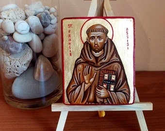 Saint Francis of Assisi icon, San Francesco d'Assisi handpainted original painting on wood, 3x4 inches
