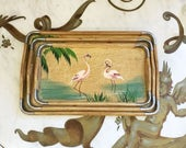 Vintage 50s Mid Century Nasco Wood Flamingo Serving Nesting Trays Set of 3