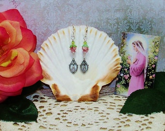 Mary's Roses Earrings - Miraculous Medal Earrings - Pierced Earrings - Lampwork Rose Earrings
