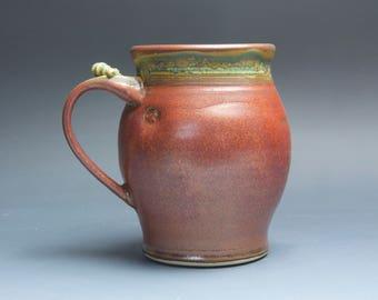Pottery beer mug ceramic mug, extra large stoneware stein, iron red 28 oz 3848