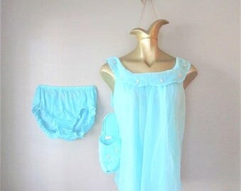 40% OFF SALE Vintage 1960's Blue Babydoll Nightie and Slipper Set / Fabulous Aqua Blue Turquoise Panty Lingerie Set / Size Medium