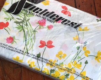 Vintage Fieldcrest Perfection Full Flat Percale Sheet NOS, Vintage Sheet, Floral Sheet, Vintage Yellow Orange Sheet, Yelliw Orange Floral