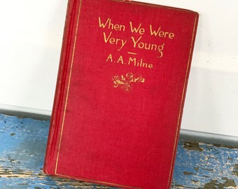 Antique Book, When We Were Very Young, Vintage Book, 1925 16th Printing, A. A. Milne, Winnie the Pooh, Red Cover, Christopher Robin