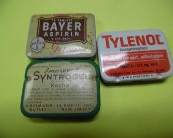 Vintage drug tins, Anacin tins, vintage tin, old tin,