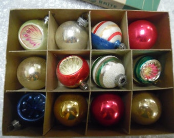 Vintage Christmas ornaments, indent ornaments, shiny brite, stencil ornament, stripe ornament