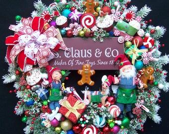 Santa In The Workshop Christmas Wreath With Annalee Elf Helper and Reindeer