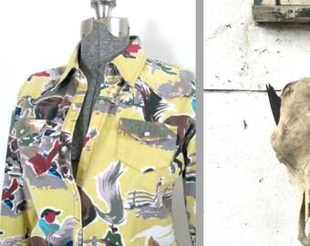 Western Cowgirl Cotton Shirt Jacket Dessert Diva Sherry Holt Size Medium // Vintage Kitsch Fashionista