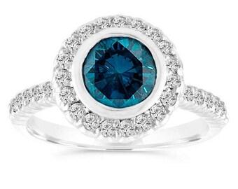 ON SALE 1.30 Carat Blue Diamond Engagement Ring, Wedding Ring 14K White Gold Bezel Set Halo Pave Certified Handmade