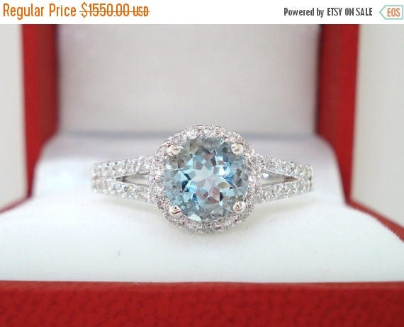 ON SALE 18K White Gold Aquamarine & Diamonds Cocktail Ring 1.21 Carat Halo Handmade