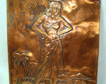 1960s Handmade Copper Etching of Hawaiian Tropical Lady Plaque.