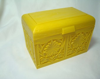 1965 Bright Yellow Carved Recipe Box by LERNER.