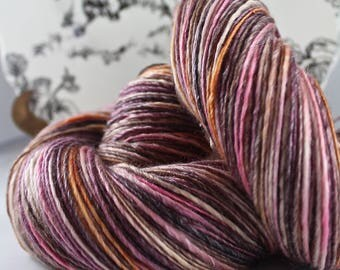 Handspun Yarn Gently Thick and Thin Single Merino and Tencel 'Crushed Berry' OOAK