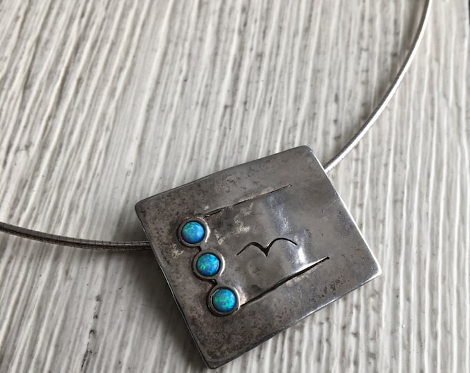 Didea Israel Modernist Opal Sterling Silver Bird Pendant