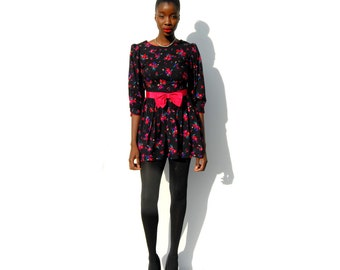 Black and jewel toned floral minidress with fuschia bow 1990s 90s VINTAGE