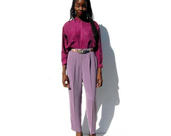 Light fuschia purple high waist high rise dress trousers PLUS size 1990s 90s VINTAGE