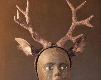 Gray Deer Headband with Antlers and Ears