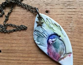 Necklace, bird charm necklace, porcelain charm