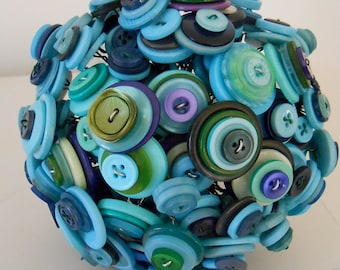 HYDRANGEA Vintage Button Bouquet in Blue Green for Gift Wedding or Decor OOAK