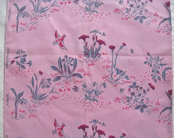3 Yards Vintage Harwood Steiger Hand Printed Fabric, Rare Pink April Pattern, 1970s, Mint Condition
