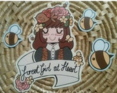 SALE Forest Girl & bees cute handcut vinyl sticker pack