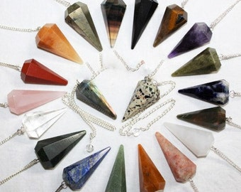 CRYSTAL PENDULUM-With 7 Chakra Stones/AA-Choose from 14 different Stones- A pendulum works like muscle testing or kinesiology