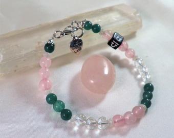 Libra Astrology- Zodiac Gemstone  Bracelet- Choose 6-8 mm Beads Aventurine,Rose Quartz,Clear Quartz and Rainbow Moonstone+FREE Crystal