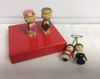Tiny Wooden Figures Made in Japan