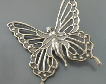 Vintage Brooch - Art Nouveau Brooch - Butterfly Fairy Jewelry - Statement Jewelry - Large Brooch - Vintage Brass Brooch - handmade jewelry