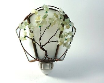 Pale Aventurine Early Spring Tree of Life Stained Glass and Wire Wrapped Night Light with green crystal beads