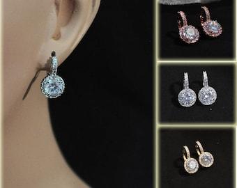 Bridal Cubic Zirconia huggie hoop and dangle Earrings, Prom Jewelry, Formal CZ earrings, Bridesmaids jewelry