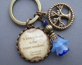 Keychain - Key Holder - Key Accessories - Charles Dickens - Reader Gifts - Quote Pendant - Purse Accessories - Key Ring - Gifts for Her