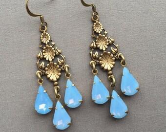 Light Blue Earrings - Dangle Earrings - Chandelier Earrings - Light Blue Jewelry - Romantic Earrings - Art Nouveau Earrings - Gifts for Her